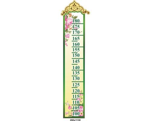 """Зростомір для садка """"Квітковий"""" розміром 280*1130 мм"""