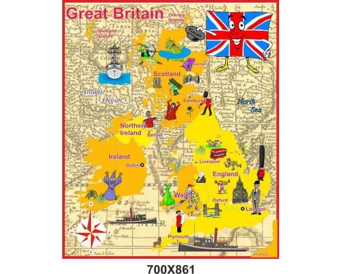 """Стенд для кабінету англійської мови """"Мапа Великобританії"""" у малюнках"""