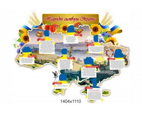 """Яскравий стенд у формі мапи """"Народні символи України"""""""